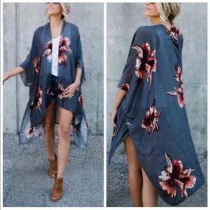 LILAH🌸 floral print boho kimono gray